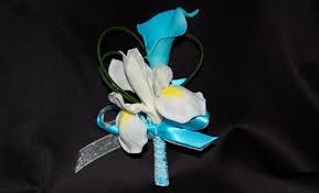 turquoise corsage custom dyed calla iris corsage destination or not