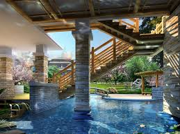 house with pool inside home design ideas