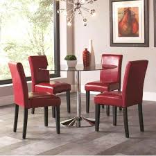 red dining chairs villa faux leather set retro kitchen table