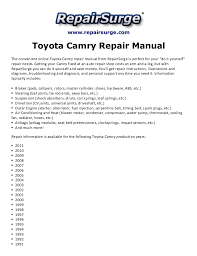2002 toyota camry service manual toyota camry repair manual 1990 2011
