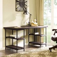 this lovely desk is framed in durable metal and its wood renate desk in coffee finish