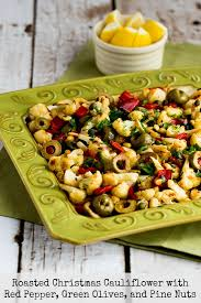 christmas nuts roasted christmas cauliflower with bell pepper green olives