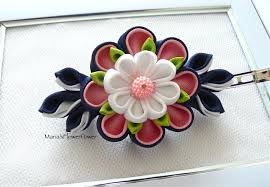 barrette hair handmade kanzashi fabric flower grosgrain ribbon barrette