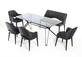 urban industrial design glass and metal grey dining set austin