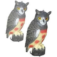 2x decoy owl garden ornament pigeon seagull bird scarer predator