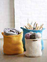 Crochet Patterns For Home Decor Bernat Cache Baskets Crochet Pattern Yarnspirations