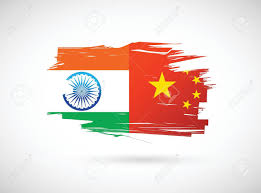China Flags India And China Flag Illustration Design Over A White Background