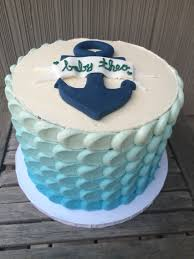 triple layer baby boy baby shower cake with blue ombré buttercream
