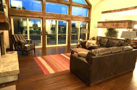flooring ideas modern rustic living room design with dark leather