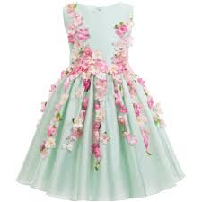flower dress beautiful light green flower fairy princess dress kids party