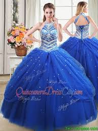 blue quincea era dresses fashionable two for one halter top tulle royal blue
