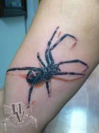 nathanvarneyart tattoo realism color spider black widow stained