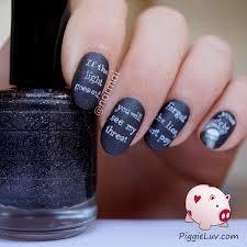 piggieluv glow in the dark threat message nail art