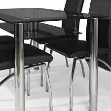 Black Glass Dining Table And 4 Chairs Contemporary Dining Table Dining Table And Chairs Oval Glass
