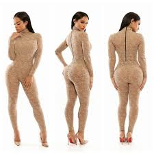 bodycon jumpsuit lace bodycon jumpsuit high collar sleeve rear zipper