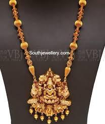 vintage long gold necklace images Antique gold long chain with lakshmi pendant photo pretty jpg