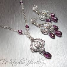 swarovski crystal necklace earrings images Purple amethyst swarovski crystal bridal necklace and earrings set jpg