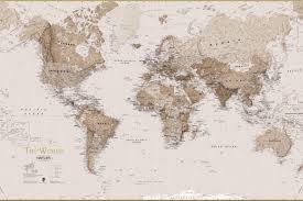 North China Plain Map by Earth Tone World Map Mural Wallpaper Murals Wallpaper