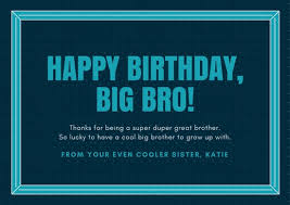 blue border brother birthday card templates by canva
