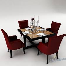 dining table set 3d model room cgtrader