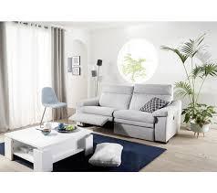 r arateur de canap canapé 3 places 2 relax élec portland tissu gris chiné canapés but