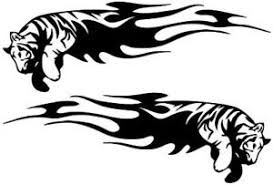 12inch vinyl car stickers tiger tribal flames motorbike side