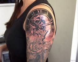 52 pretty clock tattoos on shoulder