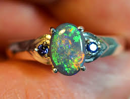 silver rings with images Solid black opal sterling silver ring jpg