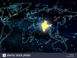 India On A World Map by Illustrative Image Of World Map With India Highlighted Stock Photo
