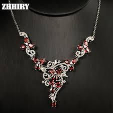 platinum plated necklace images Natural garnet gem stone wedding necklace 925 sterling silver jpg