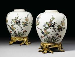 pair of ornamental vases with bronze mounts louis xv the porcelain