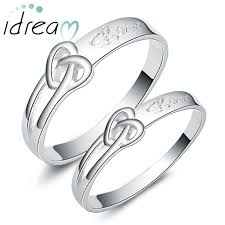 promise ring sets for him and heart knot engraved promise rings for couples