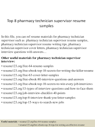 top 8 pharmacy technician supervisor resume samples 1 638 jpg cb u003d1436090943