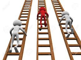 ladder 3d render of men climbing ladders for winning stock photo picture