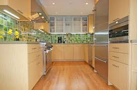simple small modern galley kitchen come with brown color wooden