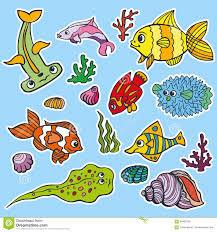 cartoon funny fish sea life stickers colored doodle set stock