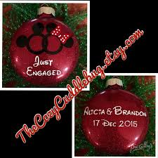 disney inspired just engaged ornament mickey and minnie