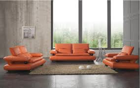 orange wall and white sofa furniture in modern living room ideas
