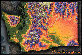 topo map of washington state colorful mountains terrain