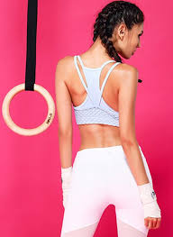 light pink sports bra double layer mesh sports bra in light teal stargazerfashion