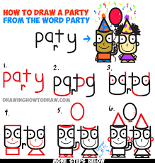 how to draw cartoon kids partying from the word