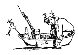 boy playing handmade toy boat coloring book