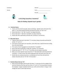 feminine and masculine nouns lesson plans u0026 worksheets