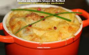 cuisiner boudin blanc recette gratin de boudin blanc de rethel au chaource et moutarde à
