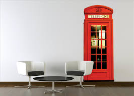 contemporary red london phonebox wall sticker by 1wall contemporary red london phonebox wall sticker by 1wall thumbnail