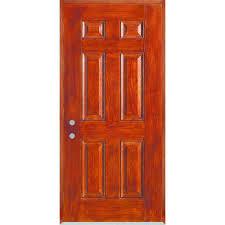 stanley doors 32 in x 80 in infinity 6 panel stained fiberglass