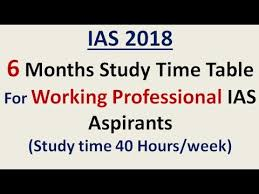 ias 2018 u003d6 months study time table for working professional