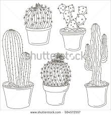 cactus pot childrens sketch stock vector 117599833 shutterstock