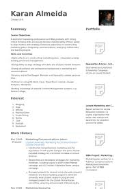 Resume Template For Internship Communications Intern Resume Samples Visualcv Resume Samples