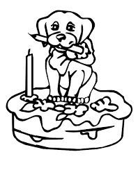 puppy figure on birthday cake colouring page happy colouring